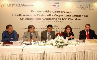 Px17-013 ISLAMABAD: Sep17 – Dr Saba Gul Khattak, Dr Nizam-ud-Din, Dr Mushtaq and Ferdinand Jenrich sitting on the stage during a Roundtable Conference on Healthcare in Federally Organized Countries: Choices and Challenges for Pakistan, organized by Center for Civic Education Pakistan in collaboration with Forum of Federations at a local hotel. ONLINE PHOTO